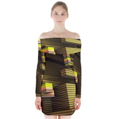 Cubic Blocks Abstract Cube Long Sleeve Off Shoulder Dress