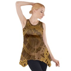 Fractal Abstract Rendering Backdrop Side Drop Tank Tunic