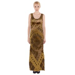 Fractal Abstract Rendering Backdrop Maxi Thigh Split Dress