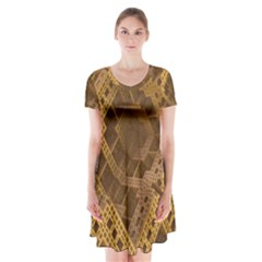 Fractal Abstract Rendering Backdrop Short Sleeve V-neck Flare Dress