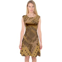 Fractal Abstract Rendering Backdrop Capsleeve Midi Dress