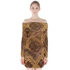 Fractal Abstract Rendering Backdrop Long Sleeve Off Shoulder Dress