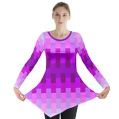 Geometric Cubes Pink Purple Blue Long Sleeve Tunic
