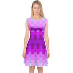 Geometric Cubes Pink Purple Blue Capsleeve Midi Dress
