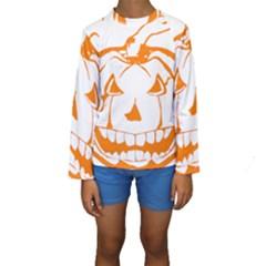 Halloween Pumpkin Scary Bad Scarry Kids  Long Sleeve Swimwear