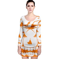Halloween Pumpkin Scary Bad Scarry Long Sleeve Bodycon Dress
