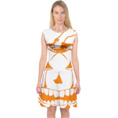 Halloween Pumpkin Scary Bad Scarry Capsleeve Midi Dress