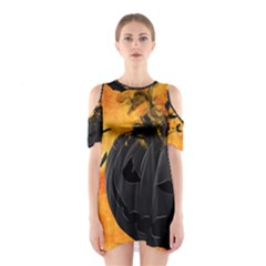 Pumpkin Bats Night Creepy Darkness Cutout Shoulder Dress