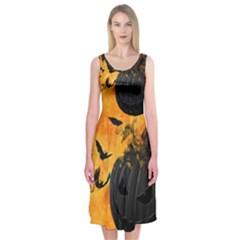 Pumpkin Bats Night Creepy Darkness Midi Sleeveless Dress