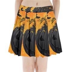 Pumpkin Bats Night Creepy Darkness Pleated Mini Skirt