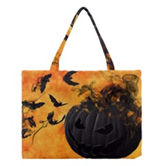 Pumpkin Bats Night Creepy Darkness Medium Tote Bag