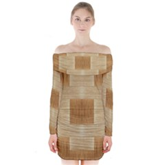 Texture wood Long Sleeve Off Shoulder Dress