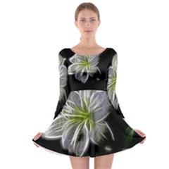 White Lily Flower Nature Beauty Long Sleeve Skater Dress