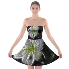White Lily Flower Nature Beauty Strapless Bra Top Dress
