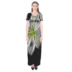 White Lily Flower Nature Beauty Short Sleeve Maxi Dress