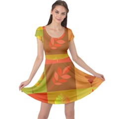 Autumn Leaves Colorful Fall Foliage Cap Sleeve Dresses