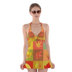 Autumn Leaves Colorful Fall Foliage Halter Swimsuit Dress