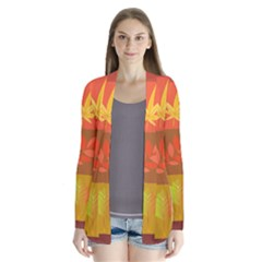 Autumn Leaves Colorful Fall Foliage Drape Collar Cardigan