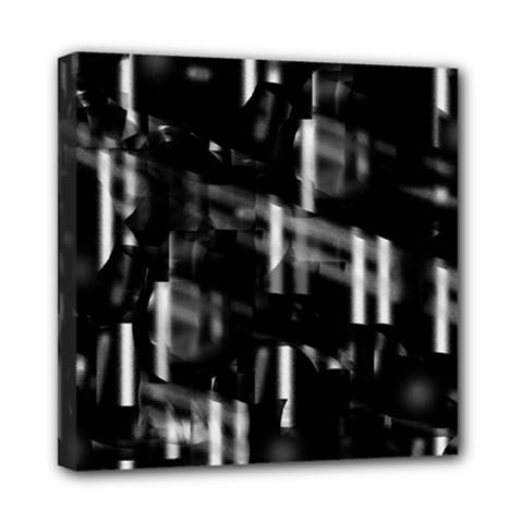 Black and white neon city Mini Canvas 8  x 8