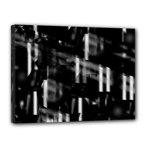 Black and white neon city Canvas 16  x 12