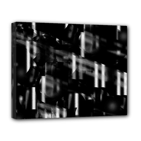 Black and white neon city Deluxe Canvas 20  x 16