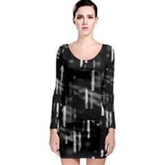 Black and white neon city Long Sleeve Bodycon Dress