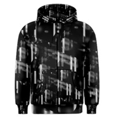 Black and white neon city Men s Zipper Hoodie