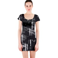 Black and white neon city Short Sleeve Bodycon Dress