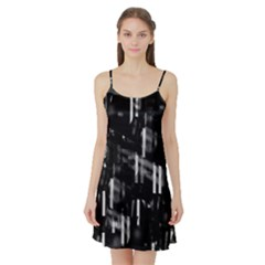 Black and white neon city Satin Night Slip