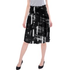 Black and white neon city Midi Beach Skirt