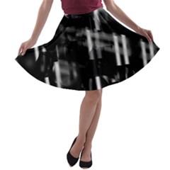 Black and white neon city A-line Skater Skirt
