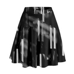 Black And White Neon City High Waist Skirt