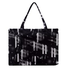 Black and white neon city Medium Zipper Tote Bag