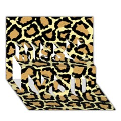 Pink Leopard Miss You 3d Greeting Card (7x5)
