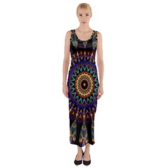 Colorful Prismatic Chromatic Fitted Maxi Dress