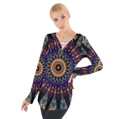 Colorful Prismatic Chromatic Women s Tie Up Tee