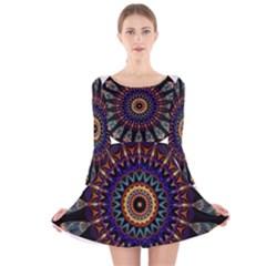 Colorful Prismatic Chromatic Long Sleeve Velvet Skater Dress