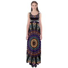 Colorful Prismatic Chromatic Empire Waist Maxi Dress