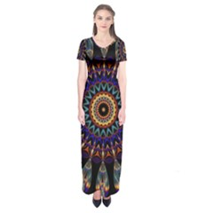 Colorful Prismatic Chromatic Short Sleeve Maxi Dress