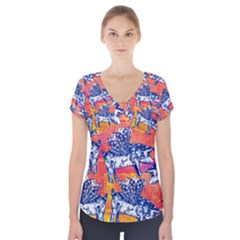 Little Flying Pigs Short Sleeve Front Detail Top