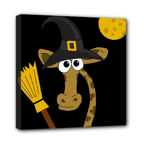 Halloween giraffe witch Mini Canvas 8  x 8