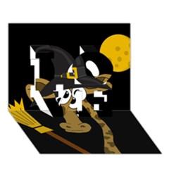 Halloween giraffe witch LOVE 3D Greeting Card (7x5)