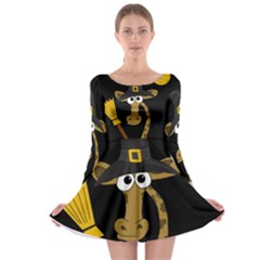 Halloween giraffe witch Long Sleeve Skater Dress