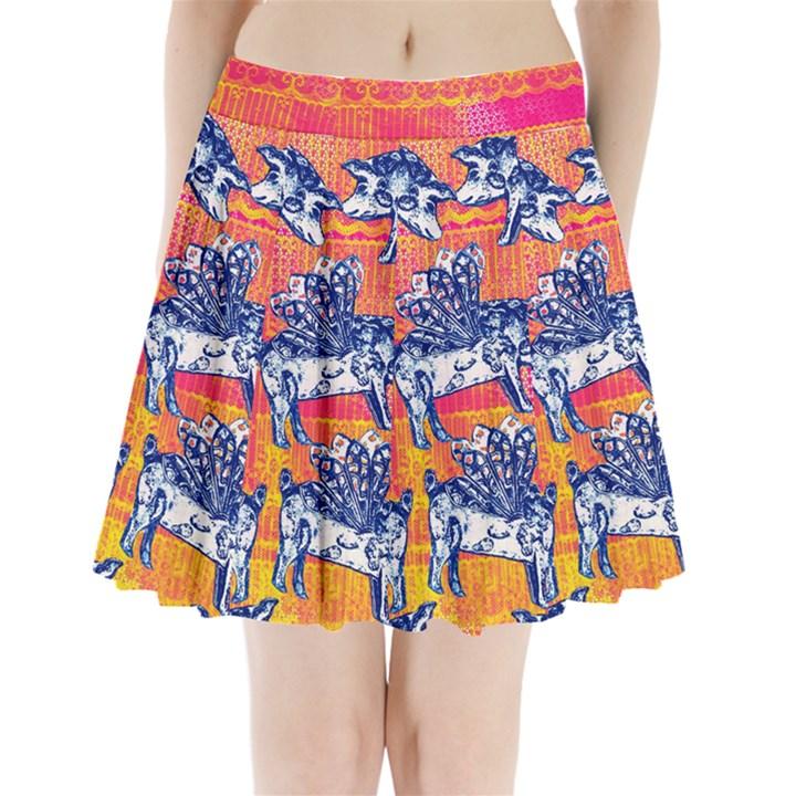 Little flying pigs Pleated Mini Skirt