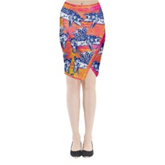 Little Flying Pigs Midi Wrap Pencil Skirt