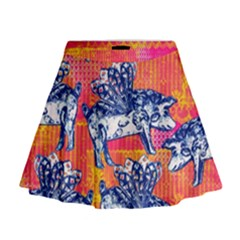 Little Flying Pigs Mini Flare Skirt