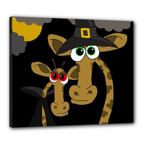 Giraffe Halloween party Canvas 24  x 20
