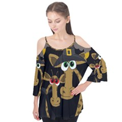 Giraffe Halloween party Flutter Tees