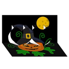 Halloween witch pumpkin Twin Hearts 3D Greeting Card (8x4)