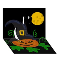 Halloween witch pumpkin Apple 3D Greeting Card (7x5)